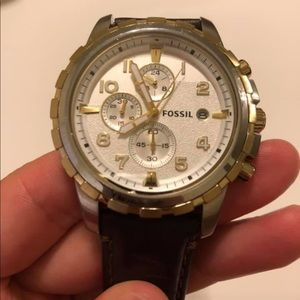 Men's Fossil Watch with Leather Band